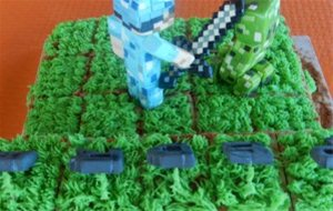 Tarta Minecraft: Chocolate Blanco