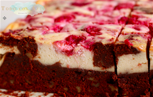 Brownie Con Cheescake Y Frambuesas