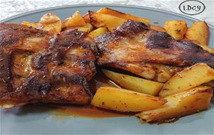Costillejas Adobadas Al Horno/ Oven-marinated Pork Ribs