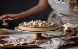 Cheesecake De Chocolate Blanco Y Caramelo Con Palomitas